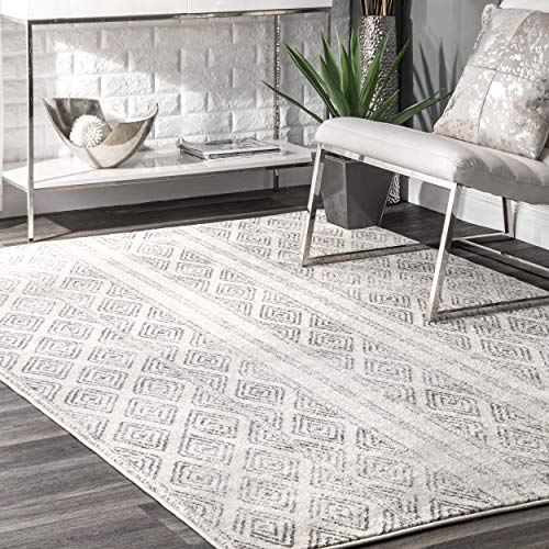 nuLOOM Sarina 4′ x 6′ Grey Diamonds Trellis Area