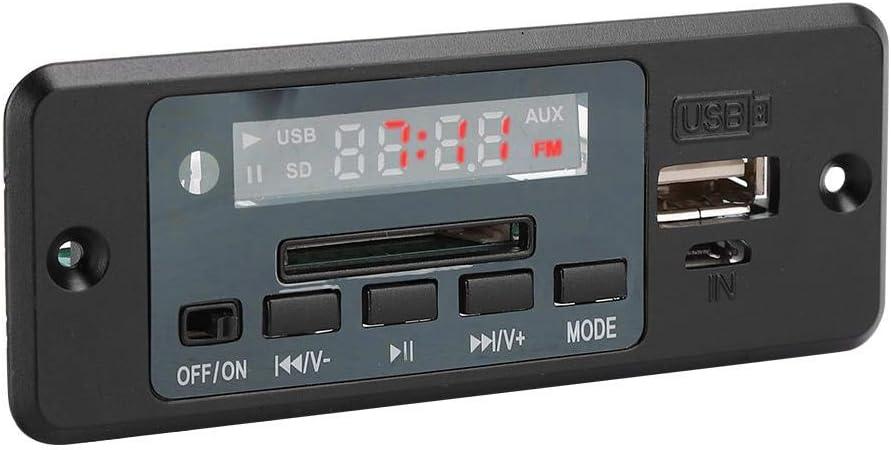 Jimfoty Modulo di decodifica FM U Disk//Memory Card Decoder Audio MP3 Scheda di decodifica MP3 Regolazione dellorologio per Il Dispositivo Audio Black