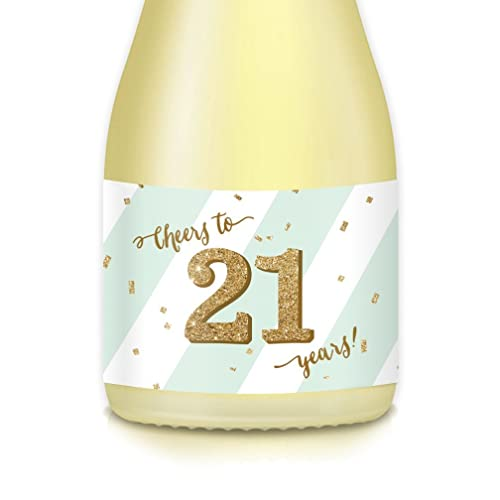 21st Birthday Party Gift Ideas Decorations Mini Champagne Wine Bottle Labels 20 Count Mint Gold Decals Celebrate Her Twenty First Sister BFF