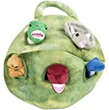 Plush Dinosaur House with Dinosaurs - Five (5) Stuffed Animal Dinosaur in Play Dinosaur Carrying Case