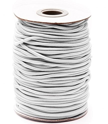 WellieSTR Elastic Cord Round White 55 ydx 3mm great for sewing, crafts & buttonhole loops,Elastic Reel