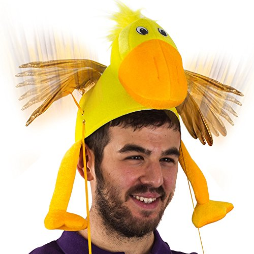 Duck Hat - Flapping Wing Duck Hat - Novelty Hat - Farm Animal Hat - Duck Costume Accessories by Tigerdoe Yellow