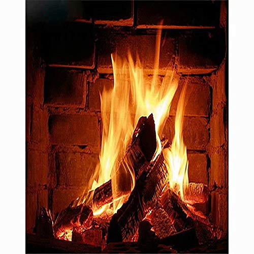 Diamond Painting Kits for Adults Full Drill Fireplace Fire Embroidery Cross Stitch Arts Craft Canvas Wall - Gel Fireplace Hung