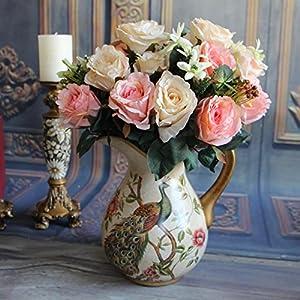 KICODE BigFamily European Rose White Valentine'S Bouquet Hydrangeas 11 Heads Wedding Bunch Artificial Silk Flowers Bridal Floral Decor Arrangment 33