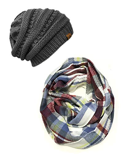 (Wrapables Plaid Print Winter Infinity Scarf and Beanie Hat Set, Gray/Wine and Charcoal Gray Set)