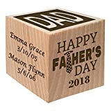 2018 Fathers Day Gift - Personalized Block First Father's Day Gift - Custom Engraved Wooden Baby Block for Boy and Girl and New Dad
