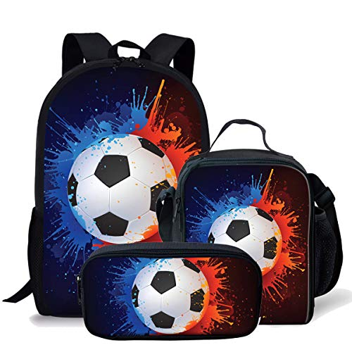 Cool Soccer Pattern Kids Backpack Travel Rucksack School Bag + Lunch Box + Pencil Bag 3 Piece
