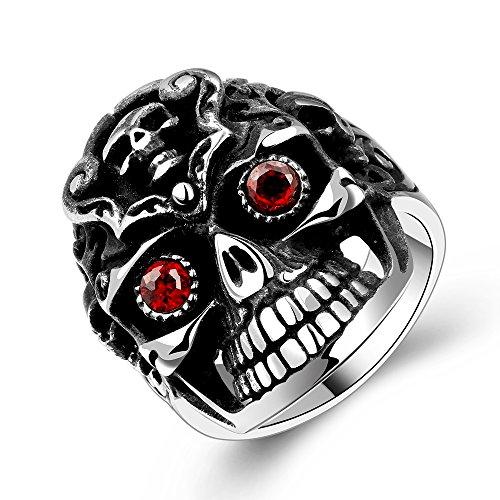 [Mens Ring Stainless Steel Classic Evil Eye Red Cubic Zircon Ring Friendship Rings For Men Band Ring] (Custom Snake Eyes Costumes)