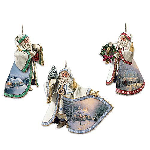 Kinkade Ornaments Bradford - Thomas Kinkade Santa Claus Heirloom Christmas Ornaments with Artwork: Set of 3 by The Ashton-Drake Galleries