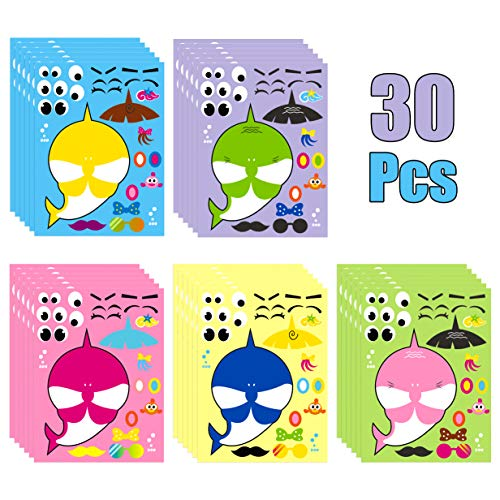 MALLMALL6 30 Sheets Baby Shark Make a Face Sticker Shark Theme Birthday Party Supplies Make Your Own Shark Stickers Party Favors Shark Decorations Decals DIY Art Craft Party Game for Kids Boys Girls