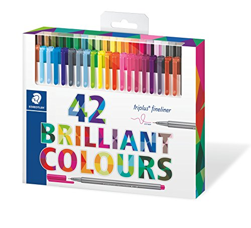 Staedtler Color Pen Set, 334C42 Set of 42 Assorted Colors (Triplus Fineliner Pens) (Colour C42)