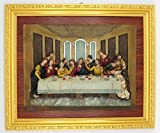 GGCI Hand Painted Resin Plate Décor Resin Cameo Sculpture Statue Figure and wooden frames Last supper