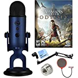 BLUE MICROPHONES Midnight Blue Yeti with Assassins Creed Odyssey Digital PC Version Plus Microphone Boom Scissor Arm Stand and Pop Filter Bundle