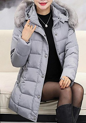 UK Grey Faux Solid today Down Puffer Hooded Jacket Womens Fur gd7qC7w