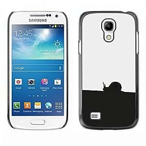 A-type Arte & diseño plástico duro Fundas Cover Cubre Hard Case Cover para Samsung Galaxy S4 Mini i9190 (Negro Blanco Caracol)