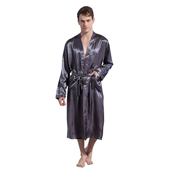 Free Fisher Vestido de Dormir Hombre Suelto con Bata y Kimono de Seda Imitacion, Gris