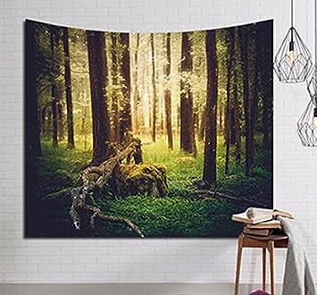 Tagesdecke Wandteppich Wand Kopfteil Bett Wohnwagen Fonds Flammig Photocall  Camping Unico Und Einzigartige Wald Mit