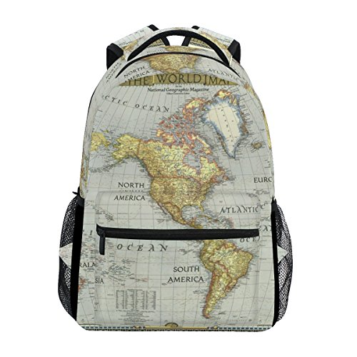 Backpack Travel World Map Painting School Bookbags Shoulder Laptop Daypack College Bag for Womens Mens Boys Girls