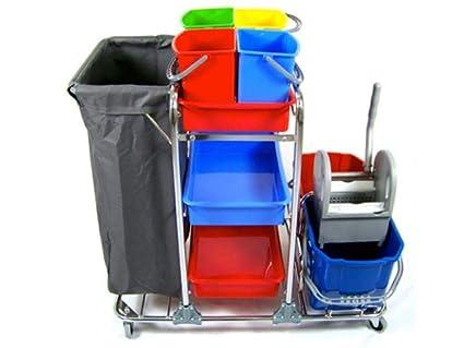 Cleany carro completo limpiador, cubo fregona, carro con 4 ruedas de maniobra, 4