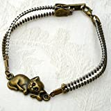 Brass Color Sleeping Kitty Steampunk Zipper Bracelet, Recycle Upcycle Jewelry, Gift for Cat Lover