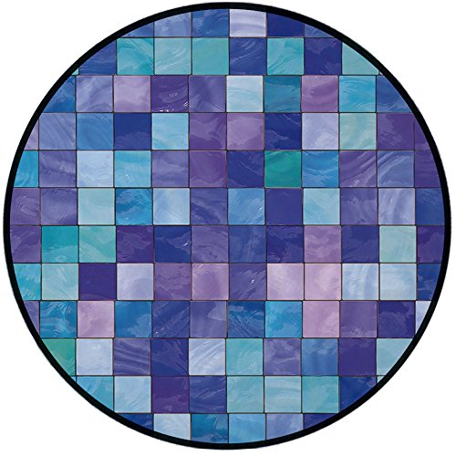 40 Inch Stained Glass Shade - Printing Round Rug,Navy and Teal,Stained Glass Inspired Design Checkered Pattern Dreamy Fantasy Colors Shades Decorative Mat Non-Slip Soft Entrance Mat Door Floor Rug Area Rug For Chair Living Room,Mu