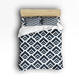 Bedding Sets 4 Piece Wood Grain Triangle Hexagons Geometric Pattern Reversible Comforter Duvet Cover Set 1 Flat Sheet 1 Duvet Cover and 2 Pillow Case by YEHO Art Gallery (Twin Size)