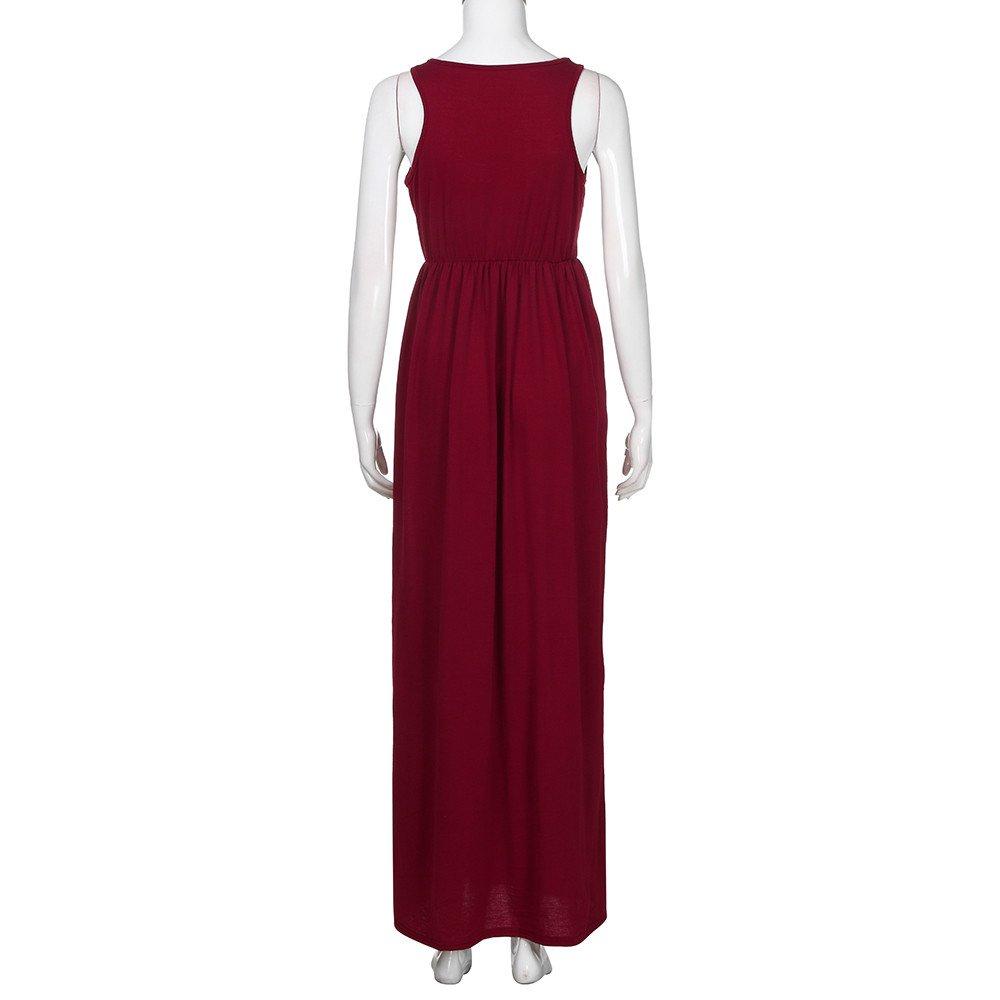 Womens Dresses Clearance Womens Sleeveless Racerback Loose Plain Maxi Long Dresses with Pockets
