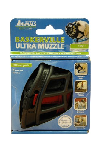 Baskerville Ultra Dog Muzzle Size 1, Black, Muzzle for Jack Russell, (Jack Russell Muzzle)