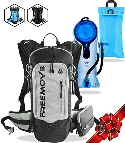 Systems Camelback Hydration (FREEMOVE Hydration Pack Backpack with 2 Liter Water Bladder and Cooler Bag, Lightweight, Fully Adjustable, Leakproof Multiple Pockets Camel Pack Gear for Hiking, Running, Cycling)
