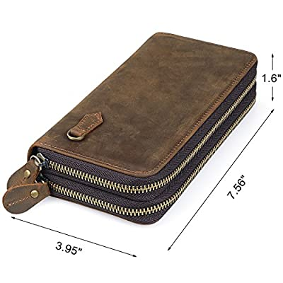 Jack&Chris Leather Wallet Double Zip Checkbook Wallet Card Holder Clutch Purse Wristlet Bag for Men and Women, NM8058