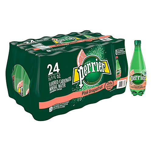(Perrier Pink Grapefruit Flavored Carbonated Mineral Water,  16.9 fl oz. Plastic Bottles (24 Count))