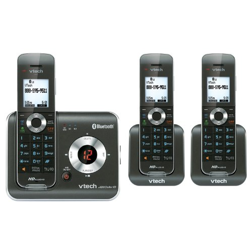 VTech DS6421-3 DECT 6.0 Cordless Phone, Black/Silver, 3 Handsets, Office Central
