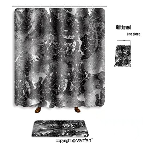 85OFF Vanfan Bath Sets With Polyester Rugs And Shower Curtain Imprints Black White Roses