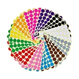 LJY 0.98 inch Round Dot Stickers Color Coding Labels, 12 Different Assorted Colors, 36 Sheets, 1440 Dots in Total