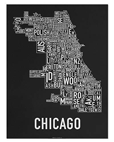 Ork Posters Chicago Neighborhoods Map Art Screen Print, Black & White, 18