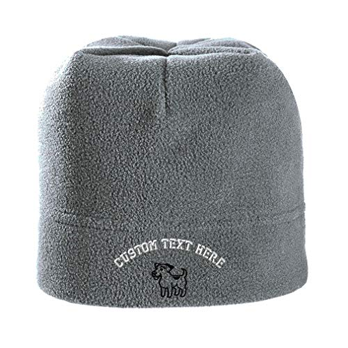 Custom Text Embroidered Jack Russell Terrier Dog Silhouette Unisex Adult Polyester/Spandex Stretch Fleece Beanie Skully Hat - Light Grey, One Size