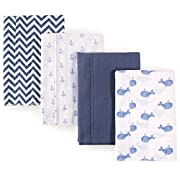 Hudson Baby 4 Pack Flannel Burp Cloth Accessory, blue whales, One Size