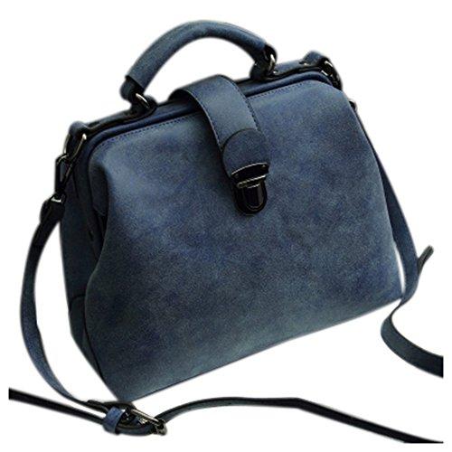 Bolsas para mujeres - TOOGOO(R)Bolsos de las mujeres Cuero de la PU del doctor de la vendimia bolsas Crossbody Bolsas para mujeres Bolsas de hombro (marron Nubuck) Azul Nubuck