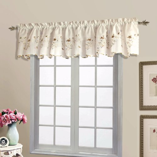 United Curtain Loretta Embroidered Sheer Shaped Valance, 52