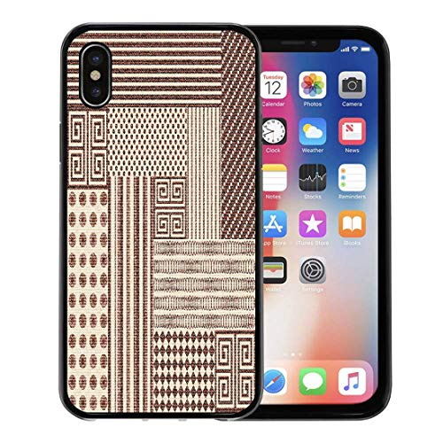 - Emvency Phone Case for Apple iPhone Xs Case/iPhone X Case,Beige Indian Abstract Patchwork Pattern Geometric Ornaments Vintage Boho Soft Rubber Border Decorative, Black