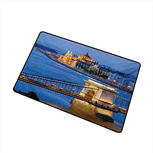 (BeckyWCarr European Front Door mat Carpet River of Budapest at The Evening Illuminated Bridge Hungarian Culture Heritage Machine Washable Door mat W19.7 x L31.5 Inch,Multicolor)