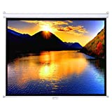 """Projector Screen, Auledio Portable 100"""" Diagonal 16:9 HD Manual Pull Down Video Projection Screen with Auto Lock - Suitable for HDTV / Sports / Movies / Presentations"""