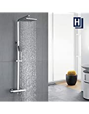 HOMELODY Douchesysteem met Thermostaat Doucheset Thermostaat Douchesystemen Regendouche Vierkant Douchekraan inclusief Handdouche Chrome