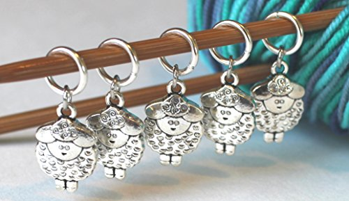 Set of 5 Sheep Stitch Markers for (Charm Knitting Markers)
