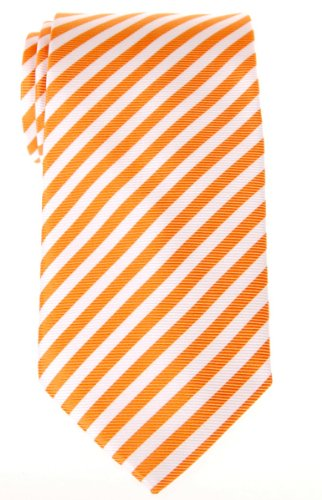 Retreez Stripe Woven Men's Tie - Orange and White Stripe