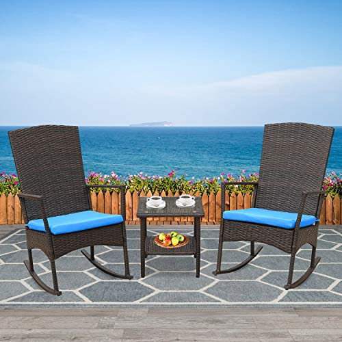 Rattaner Outdoor 3 Piece Wicker Rocking Chair Set Patio Bistro Set Conversation Furniture -2 Rocker Chair and Glass Coffee Side Table-Mix Brown Rattan Blue Cushion