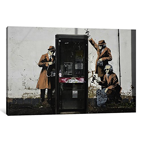 iCanvasART 1-Piece Spy Booth Canvas Print by Banksy, 0.75...