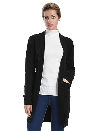 ninovino Women s Long Cardigan Sweater Lightweight Ribbed Knit Sweater with  Pocket Black S 67339a031