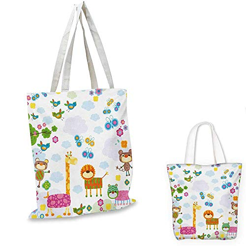 Nursery small clear shopping bag Floral Background with Funny and Cute Animals Giraffe Lion Monkeys and Butterflies sloth shopping bag Multicolor. 16
