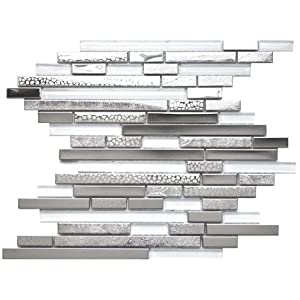 Modern Random Mixed Stainless Steel Tile With White Glass And Textured Metal Kitchen Backsplash Bathroom Wall Home Decor Fireplace Surround